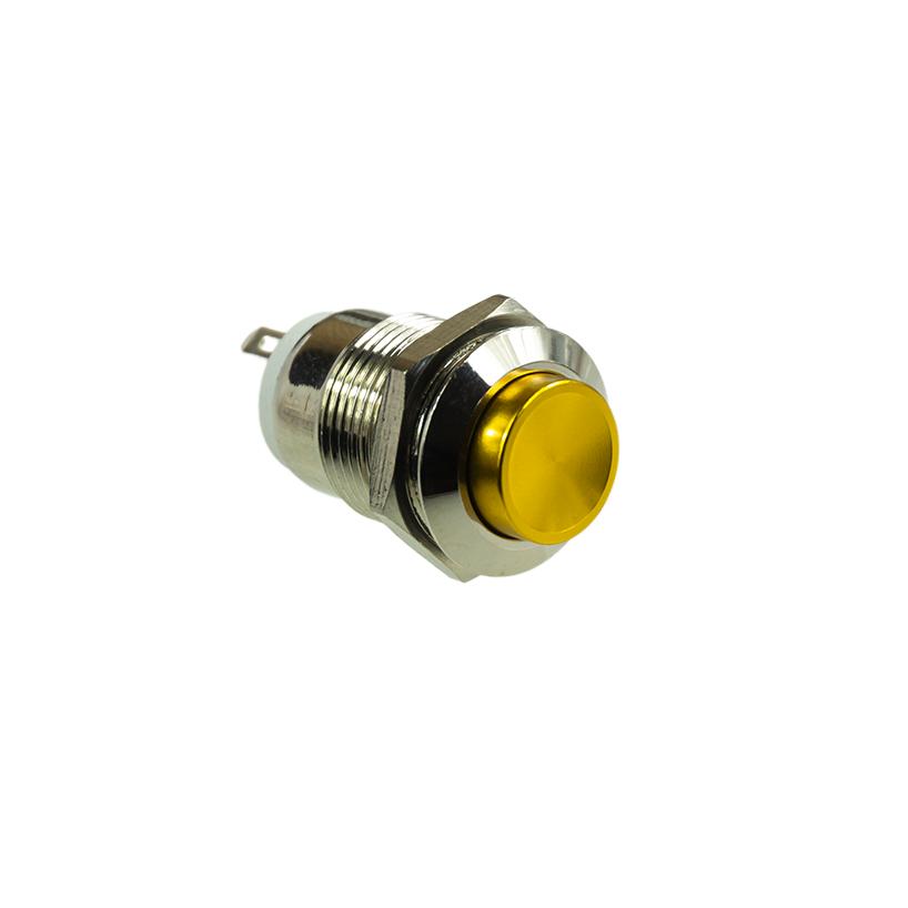 Taster - NO - Wasserdicht - 12V 1A 12mm - Gold